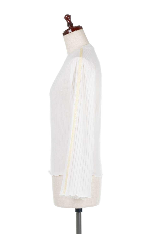 VelvetLinedFlareSleeveKnitTopベロアライン・起毛リブニット大人カジュアルに最適な海外ファッションのothers(その他インポートアイテム)のトップスやニット・セーター。薄っすらと起毛されたリブニットを使用したトップス。スッキリとしたボディにややゆとりのあるフレアスリーブが特徴。/main-7