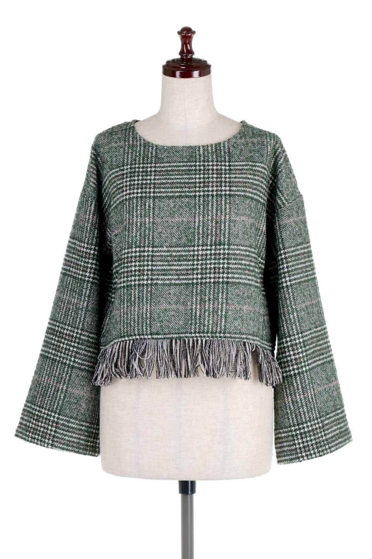 GlencheckFringePulloverグレンチェック・フリンジトップス大人カジュアルに最適な海外ファッションのothers(その他インポートアイテム)のトップスやニット・セーター。裾のフリンジが可愛いオーバーサイズのプルオーバートップス。シックになりがちなグレンチェックですが、大柄チェックなのでカジュアル感のあるアイテムです。/main-10