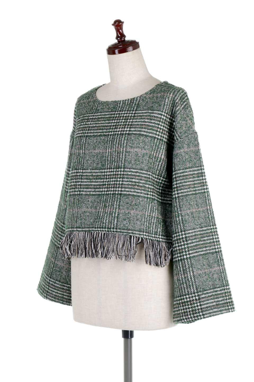 GlencheckFringePulloverグレンチェック・フリンジトップス大人カジュアルに最適な海外ファッションのothers(その他インポートアイテム)のトップスやニット・セーター。裾のフリンジが可愛いオーバーサイズのプルオーバートップス。シックになりがちなグレンチェックですが、大柄チェックなのでカジュアル感のあるアイテムです。/main-11