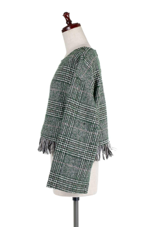 GlencheckFringePulloverグレンチェック・フリンジトップス大人カジュアルに最適な海外ファッションのothers(その他インポートアイテム)のトップスやニット・セーター。裾のフリンジが可愛いオーバーサイズのプルオーバートップス。シックになりがちなグレンチェックですが、大柄チェックなのでカジュアル感のあるアイテムです。/main-12