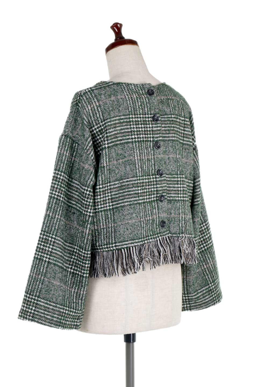 GlencheckFringePulloverグレンチェック・フリンジトップス大人カジュアルに最適な海外ファッションのothers(その他インポートアイテム)のトップスやニット・セーター。裾のフリンジが可愛いオーバーサイズのプルオーバートップス。シックになりがちなグレンチェックですが、大柄チェックなのでカジュアル感のあるアイテムです。/main-13
