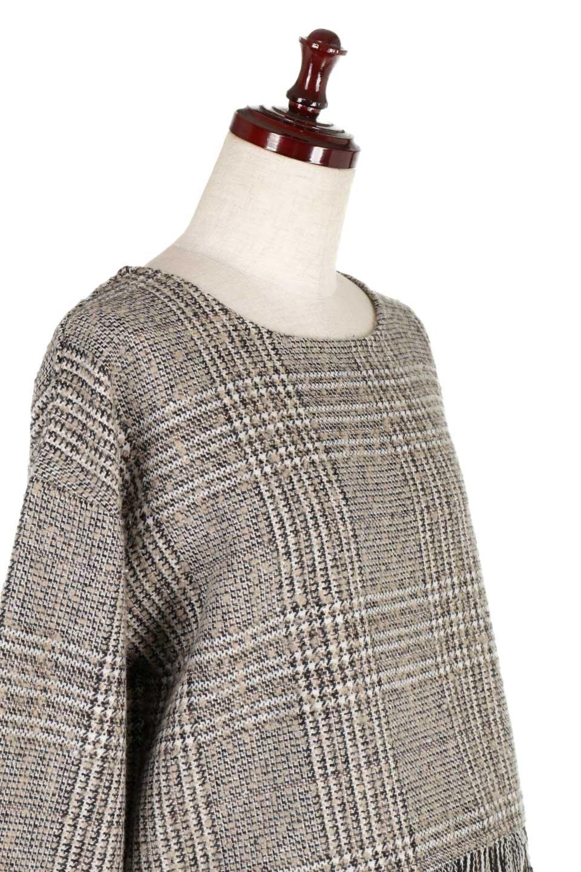 GlencheckFringePulloverグレンチェック・フリンジトップス大人カジュアルに最適な海外ファッションのothers(その他インポートアイテム)のトップスやニット・セーター。裾のフリンジが可愛いオーバーサイズのプルオーバートップス。シックになりがちなグレンチェックですが、大柄チェックなのでカジュアル感のあるアイテムです。/main-17