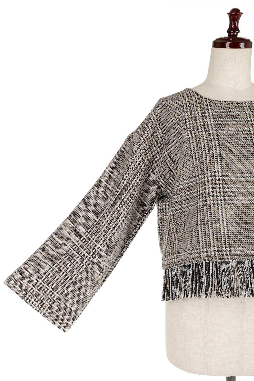 GlencheckFringePulloverグレンチェック・フリンジトップス大人カジュアルに最適な海外ファッションのothers(その他インポートアイテム)のトップスやニット・セーター。裾のフリンジが可愛いオーバーサイズのプルオーバートップス。シックになりがちなグレンチェックですが、大柄チェックなのでカジュアル感のあるアイテムです。/main-21