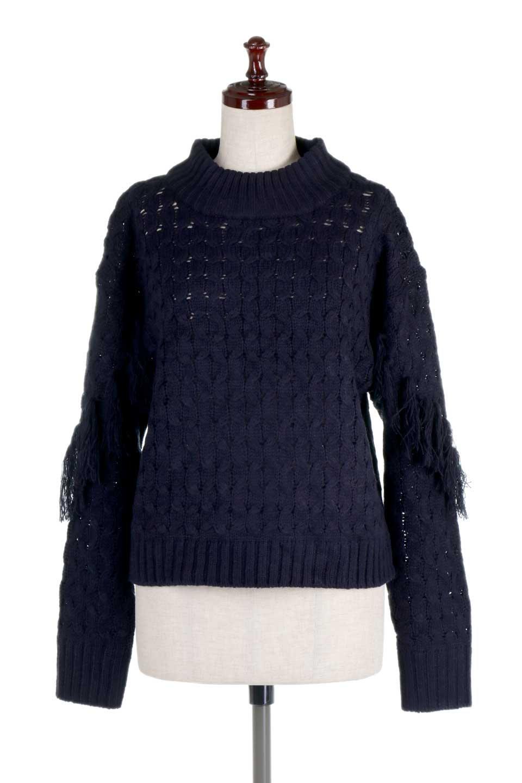 RibbedHighNeckFringeKnitTopハイネック・フリンジセーター大人カジュアルに最適な海外ファッションのothers(その他インポートアイテム)のトップスやニット・セーター。フリンジが飾られた袖が可愛いザックリ編みのケーブルニットセーター。肉厚で大きめリブのハイネックは小顔効果も期待できそうです。/main-15