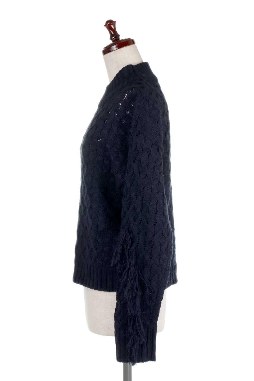 RibbedHighNeckFringeKnitTopハイネック・フリンジセーター大人カジュアルに最適な海外ファッションのothers(その他インポートアイテム)のトップスやニット・セーター。フリンジが飾られた袖が可愛いザックリ編みのケーブルニットセーター。肉厚で大きめリブのハイネックは小顔効果も期待できそうです。/main-17
