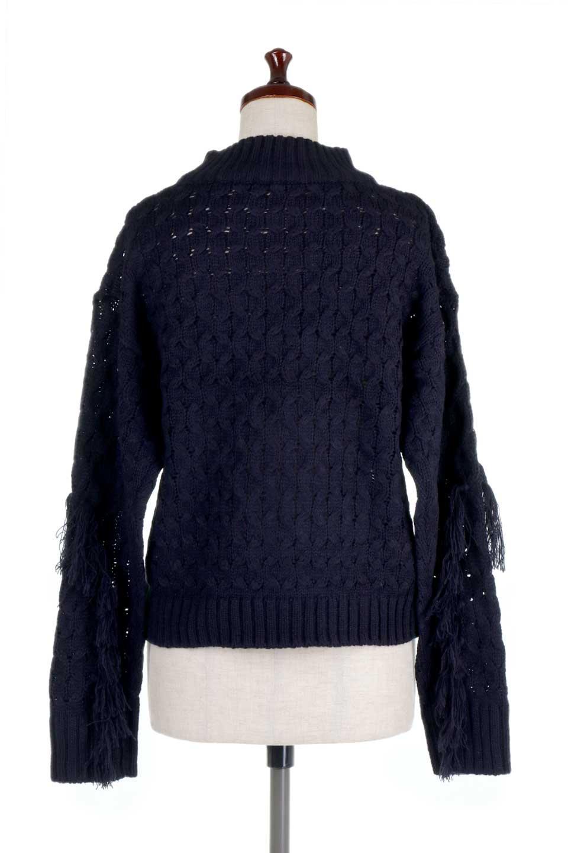 RibbedHighNeckFringeKnitTopハイネック・フリンジセーター大人カジュアルに最適な海外ファッションのothers(その他インポートアイテム)のトップスやニット・セーター。フリンジが飾られた袖が可愛いザックリ編みのケーブルニットセーター。肉厚で大きめリブのハイネックは小顔効果も期待できそうです。/main-19