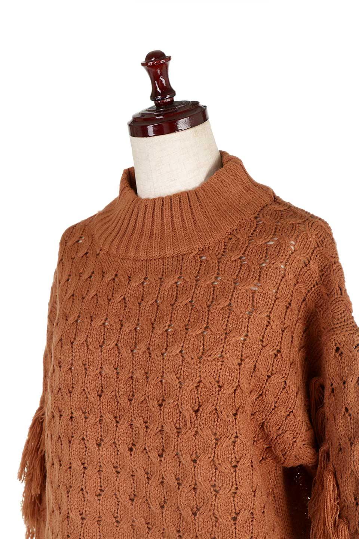 RibbedHighNeckFringeKnitTopハイネック・フリンジセーター大人カジュアルに最適な海外ファッションのothers(その他インポートアイテム)のトップスやニット・セーター。フリンジが飾られた袖が可愛いザックリ編みのケーブルニットセーター。肉厚で大きめリブのハイネックは小顔効果も期待できそうです。/main-21