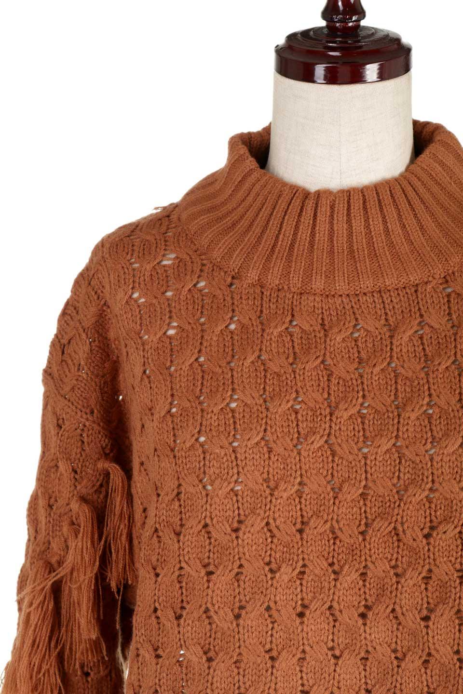 RibbedHighNeckFringeKnitTopハイネック・フリンジセーター大人カジュアルに最適な海外ファッションのothers(その他インポートアイテム)のトップスやニット・セーター。フリンジが飾られた袖が可愛いザックリ編みのケーブルニットセーター。肉厚で大きめリブのハイネックは小顔効果も期待できそうです。/main-22