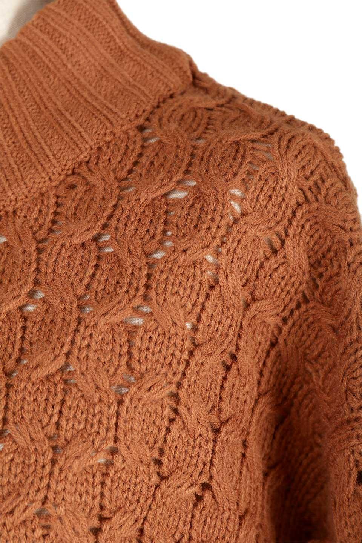 RibbedHighNeckFringeKnitTopハイネック・フリンジセーター大人カジュアルに最適な海外ファッションのothers(その他インポートアイテム)のトップスやニット・セーター。フリンジが飾られた袖が可愛いザックリ編みのケーブルニットセーター。肉厚で大きめリブのハイネックは小顔効果も期待できそうです。/main-23