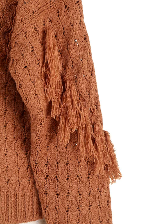 RibbedHighNeckFringeKnitTopハイネック・フリンジセーター大人カジュアルに最適な海外ファッションのothers(その他インポートアイテム)のトップスやニット・セーター。フリンジが飾られた袖が可愛いザックリ編みのケーブルニットセーター。肉厚で大きめリブのハイネックは小顔効果も期待できそうです。/main-26