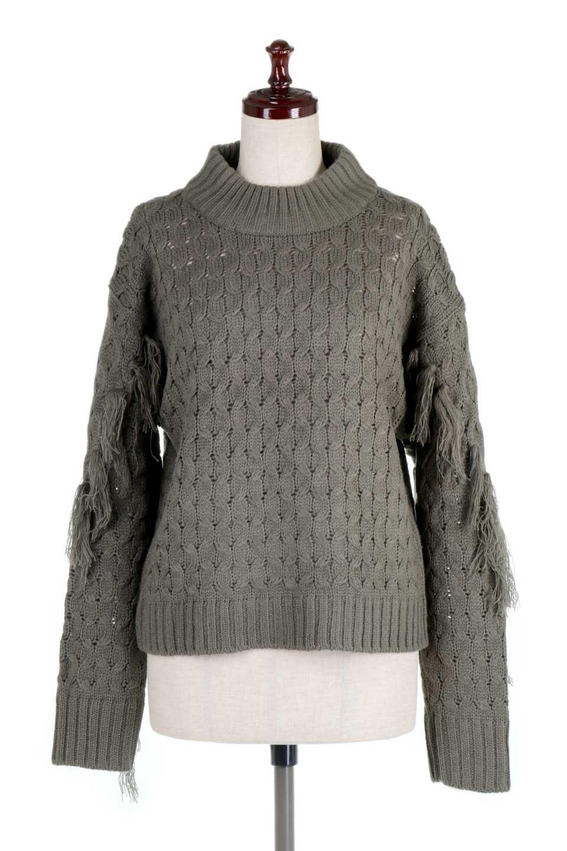 RibbedHighNeckFringeKnitTopハイネック・フリンジセーター大人カジュアルに最適な海外ファッションのothers(その他インポートアイテム)のトップスやニット・セーター。フリンジが飾られた袖が可愛いザックリ編みのケーブルニットセーター。肉厚で大きめリブのハイネックは小顔効果も期待できそうです。/main-5