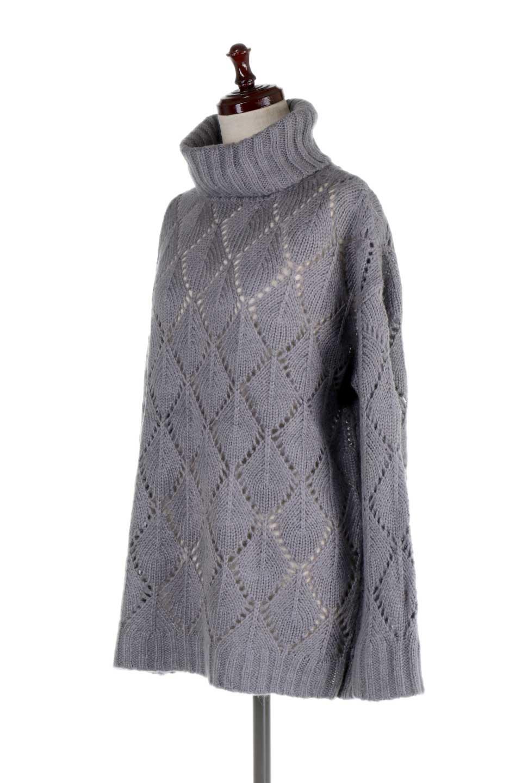 DiamondPatternTurtleNeckSweater模様編み・タートルネックセーター大人カジュアルに最適な海外ファッションのothers(その他インポートアイテム)のトップスやニット・セーター。たっぷり大きめのタートルネックがポイントのニット・セーター。オーバーサイズ気味のシルエットに長い袖が可愛いアイテム。/main-11
