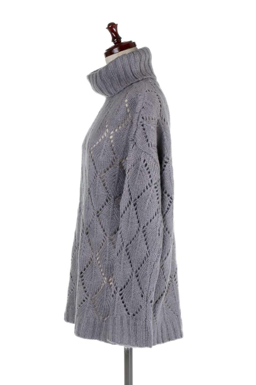 DiamondPatternTurtleNeckSweater模様編み・タートルネックセーター大人カジュアルに最適な海外ファッションのothers(その他インポートアイテム)のトップスやニット・セーター。たっぷり大きめのタートルネックがポイントのニット・セーター。オーバーサイズ気味のシルエットに長い袖が可愛いアイテム。/main-12
