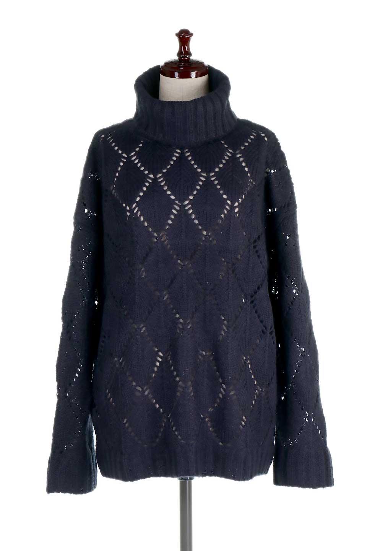 DiamondPatternTurtleNeckSweater模様編み・タートルネックセーター大人カジュアルに最適な海外ファッションのothers(その他インポートアイテム)のトップスやニット・セーター。たっぷり大きめのタートルネックがポイントのニット・セーター。オーバーサイズ気味のシルエットに長い袖が可愛いアイテム。/main-15