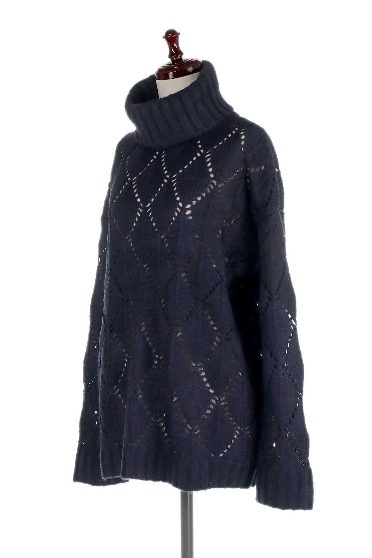 DiamondPatternTurtleNeckSweater模様編み・タートルネックセーター大人カジュアルに最適な海外ファッションのothers(その他インポートアイテム)のトップスやニット・セーター。たっぷり大きめのタートルネックがポイントのニット・セーター。オーバーサイズ気味のシルエットに長い袖が可愛いアイテム。/main-16