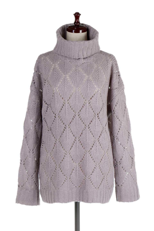 DiamondPatternTurtleNeckSweater模様編み・タートルネックセーター大人カジュアルに最適な海外ファッションのothers(その他インポートアイテム)のトップスやニット・セーター。たっぷり大きめのタートルネックがポイントのニット・セーター。オーバーサイズ気味のシルエットに長い袖が可愛いアイテム。/main-5