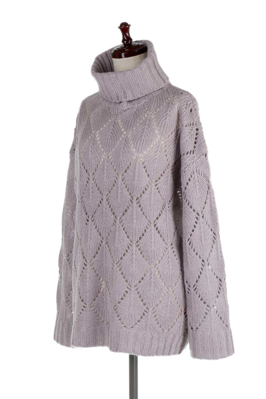 DiamondPatternTurtleNeckSweater模様編み・タートルネックセーター大人カジュアルに最適な海外ファッションのothers(その他インポートアイテム)のトップスやニット・セーター。たっぷり大きめのタートルネックがポイントのニット・セーター。オーバーサイズ気味のシルエットに長い袖が可愛いアイテム。/main-6