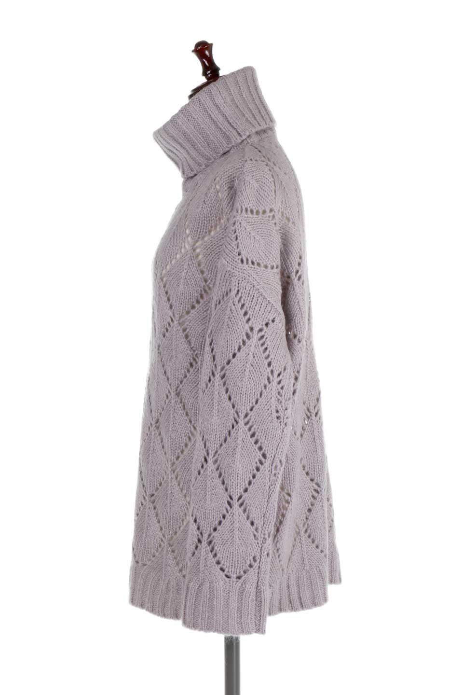 DiamondPatternTurtleNeckSweater模様編み・タートルネックセーター大人カジュアルに最適な海外ファッションのothers(その他インポートアイテム)のトップスやニット・セーター。たっぷり大きめのタートルネックがポイントのニット・セーター。オーバーサイズ気味のシルエットに長い袖が可愛いアイテム。/main-7