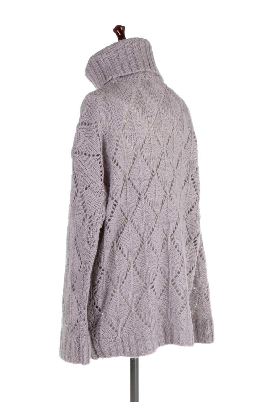 DiamondPatternTurtleNeckSweater模様編み・タートルネックセーター大人カジュアルに最適な海外ファッションのothers(その他インポートアイテム)のトップスやニット・セーター。たっぷり大きめのタートルネックがポイントのニット・セーター。オーバーサイズ気味のシルエットに長い袖が可愛いアイテム。/main-8