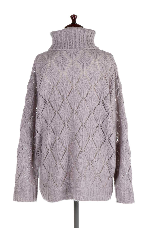 DiamondPatternTurtleNeckSweater模様編み・タートルネックセーター大人カジュアルに最適な海外ファッションのothers(その他インポートアイテム)のトップスやニット・セーター。たっぷり大きめのタートルネックがポイントのニット・セーター。オーバーサイズ気味のシルエットに長い袖が可愛いアイテム。/main-9