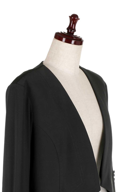 JosephRibkoffのJacket#1611407分袖・テールカットジャケット/JosephRibkoffのアウターやジャケット。ショート丈のノーカラーボタンレス・7分袖ジャケット。肩パッド入りのしっかりとした作りと動きやすいはいストレッチ素材のコンビネーションが素晴らしいジャケットです。/main-5