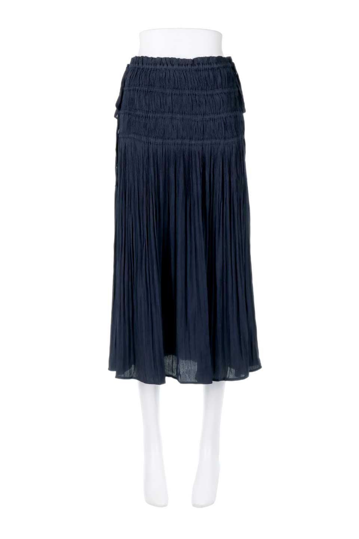 L.A.直輸入のPleatedMidiSkirtプリーツ入りミディスカート大人カジュアルに最適な海外ファッションのothers(その他インポートアイテム)のボトムやスカート。スッキリとした腰回りで大人のカジュアルコーディネートが楽しめるプリーツスカート。カラーは濃い目のネイビー。