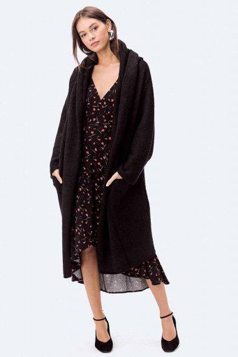 海外ファッション好きのためのカリフォルニアテイストの大人カジュアルインポートブランドLOVESTITCH(ラブステッチ)のLennox Sweater Coat (Black) フード付きロングニットカーディガン