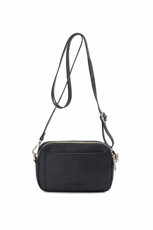 meliebiancoのEmilia(Black)ダブルジップ・ミニショルダーバッグ/海外ファッション好きにオススメのインポートバッグとかばん、MelieBianco(メリービアンコ)のバッグやショルダーバッグ。meliebianco(メリービアンコ)の2019年春夏の新作になります。メリービアンコ自慢のビーガンレザーを使用したアニマルフレンドリーなアイテム。/main-7