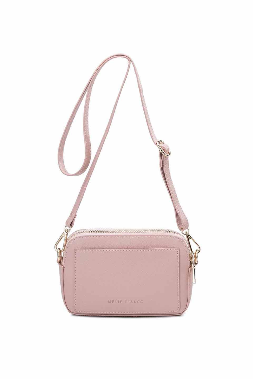 meliebiancoのEmilia(Blush)ダブルジップ・ミニショルダーバッグ/海外ファッション好きにオススメのインポートバッグとかばん、MelieBianco(メリービアンコ)のバッグやショルダーバッグ。meliebianco(メリービアンコ)の2019年春夏の新作になります。メリービアンコ自慢のビーガンレザーを使用したアニマルフレンドリーなアイテム。/main-6