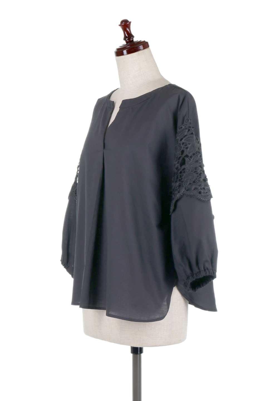 CutworkSleeveBlouseカットワークスリーブ・9分袖ブラウス大人カジュアルに最適な海外ファッションのothers(その他インポートアイテム)のトップスやシャツ・ブラウス。袖のカットワークレースが春気分を盛り上げる9分袖ブラウス。ゆったりとしたボックス型のシルエットをカットワークが女性らしく見せてくれます。/main-21