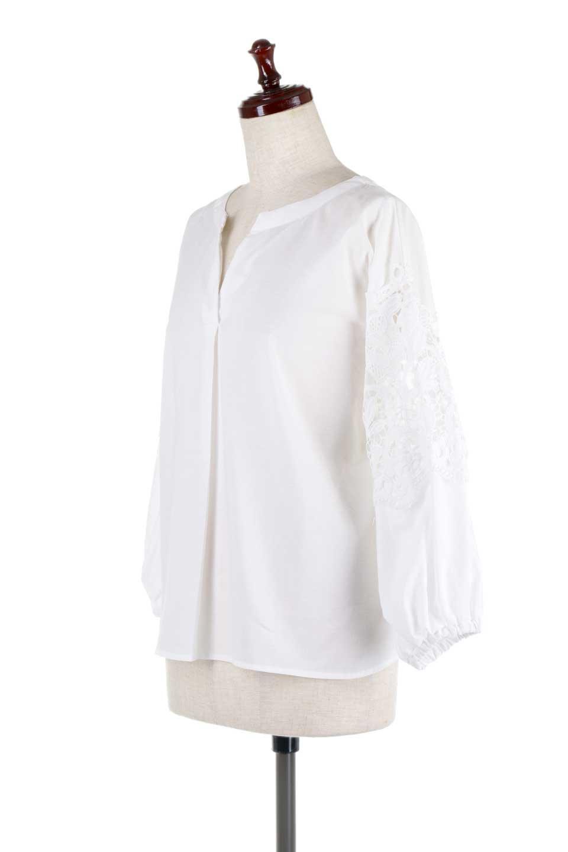 CutworkSleeveBlouseカットワークスリーブ・9分袖ブラウス大人カジュアルに最適な海外ファッションのothers(その他インポートアイテム)のトップスやシャツ・ブラウス。袖のカットワークレースが春気分を盛り上げる9分袖ブラウス。ゆったりとしたボックス型のシルエットをカットワークが女性らしく見せてくれます。/main-6