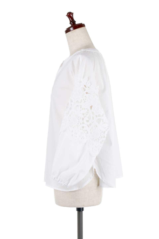 CutworkSleeveBlouseカットワークスリーブ・9分袖ブラウス大人カジュアルに最適な海外ファッションのothers(その他インポートアイテム)のトップスやシャツ・ブラウス。袖のカットワークレースが春気分を盛り上げる9分袖ブラウス。ゆったりとしたボックス型のシルエットをカットワークが女性らしく見せてくれます。/main-7
