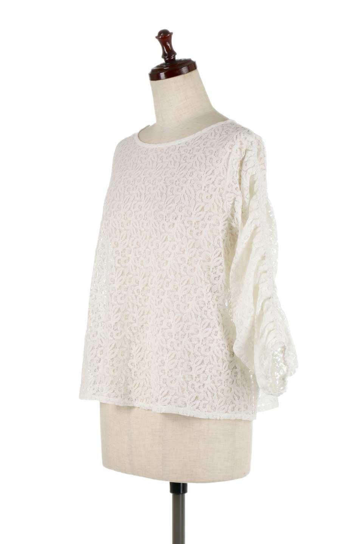 GatherSleeveLaceBlouseオーバーサイズ・サファリジャケット大人カジュアルに最適な海外ファッションのothers(その他インポートアイテム)のトップスやシャツ・ブラウス。春の重ね着にピッタリの総レースブラウス。ゆったり目のシルエットとギャザーをあしらった袖がとてもかわいいブラウスです。/main-6