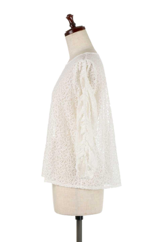 GatherSleeveLaceBlouseオーバーサイズ・サファリジャケット大人カジュアルに最適な海外ファッションのothers(その他インポートアイテム)のトップスやシャツ・ブラウス。春の重ね着にピッタリの総レースブラウス。ゆったり目のシルエットとギャザーをあしらった袖がとてもかわいいブラウスです。/main-7