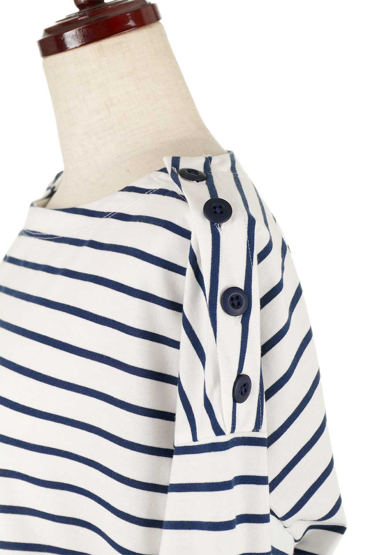 ButtonShoulderStripedTee肩ボタン・ボーダーロンT大人カジュアルに最適な海外ファッションのothers(その他インポートアイテム)のトップスやカットソー。マリンテイストのボーダーロンT。人気の大きめデザインで合わせやすいアイテムです。/main-23
