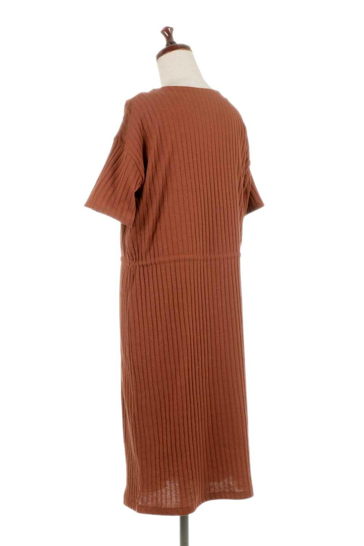 Waist-TiedRibKnitDressワイドリブ・半袖ニットワンピース大人カジュアルに最適な海外ファッションのothers(その他インポートアイテム)のワンピースやミディワンピース。やや薄手のワイドリブニットが爽やかなワンピース。ウエストのリボンの絞り具合で様々なコーデが楽しめます。/main-13
