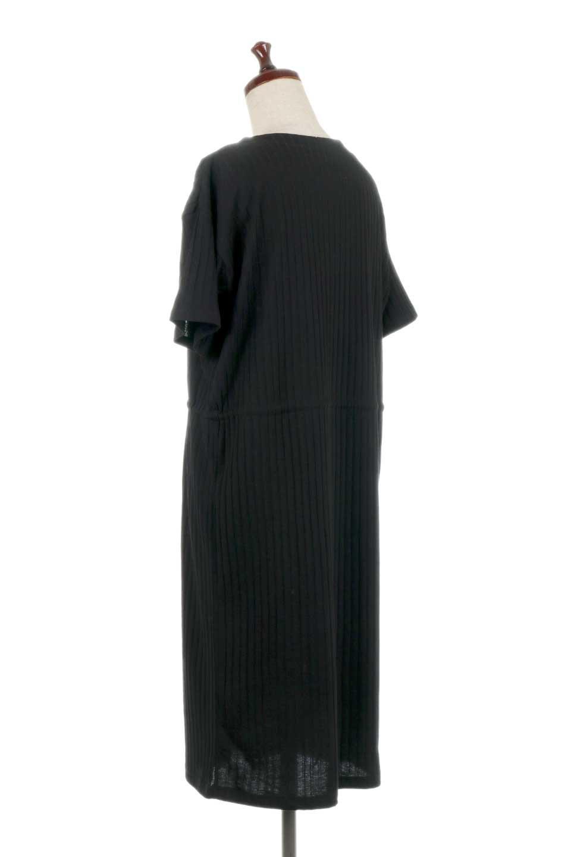 Waist-TiedRibKnitDressワイドリブ・半袖ニットワンピース大人カジュアルに最適な海外ファッションのothers(その他インポートアイテム)のワンピースやミディワンピース。やや薄手のワイドリブニットが爽やかなワンピース。ウエストのリボンの絞り具合で様々なコーデが楽しめます。/main-18