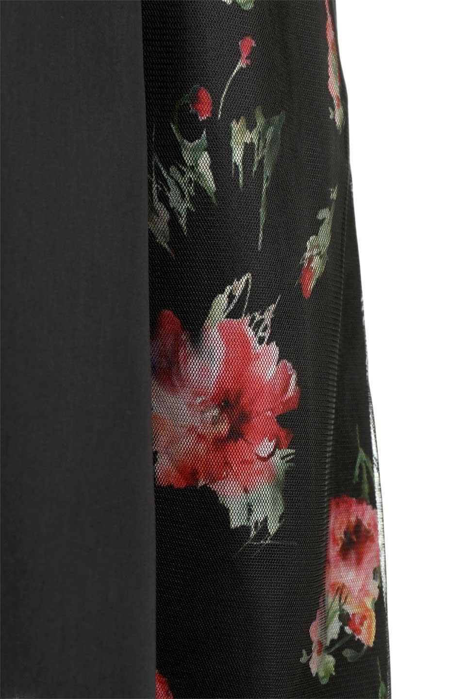 FloralSideLinedSleevelessDress花柄切り替え・Aラインドレス大人カジュアルに最適な海外ファッションのothers(その他インポートアイテム)のワンピースやミディワンピース。パーティーなどで活躍しそうな上品ワンピース。ドレープ感のある生地にサイドの花柄が映える華のあるドレスです。/main-12