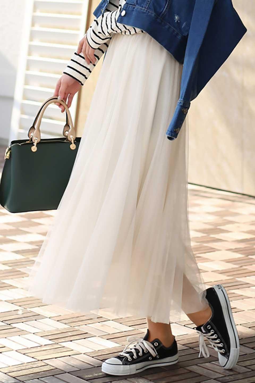 TulleMidiSkirtチュールレース・ミディスカート大人カジュアルに最適な海外ファッションのothers(その他インポートアイテム)のボトムやスカート。フワッとしたシルエットが可愛いチュールスカート。チュールは2層になっているのでしっかりとAラインを作り出してくれます。/main-21