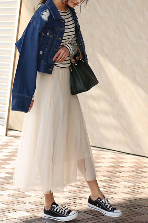 TulleMidiSkirtチュールレース・ミディスカート大人カジュアルに最適な海外ファッションのothers(その他インポートアイテム)のボトムやスカート。フワッとしたシルエットが可愛いチュールスカート。チュールは2層になっているのでしっかりとAラインを作り出してくれます。/main-22