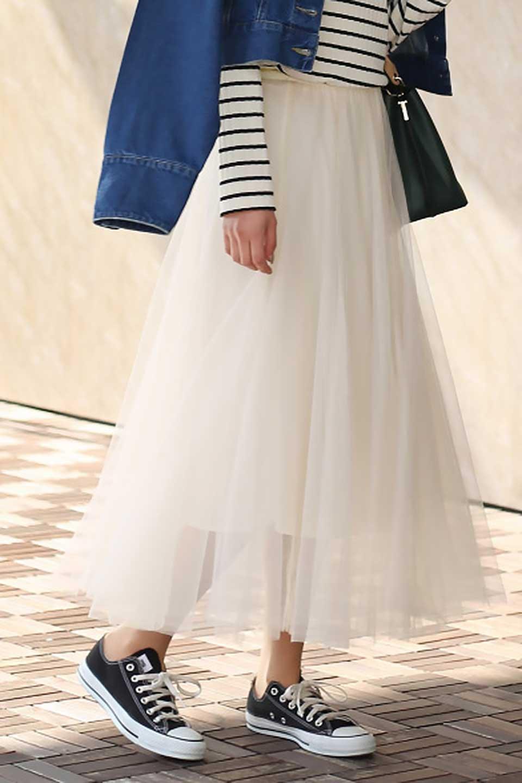 TulleMidiSkirtチュールレース・ミディスカート大人カジュアルに最適な海外ファッションのothers(その他インポートアイテム)のボトムやスカート。フワッとしたシルエットが可愛いチュールスカート。チュールは2層になっているのでしっかりとAラインを作り出してくれます。/main-23