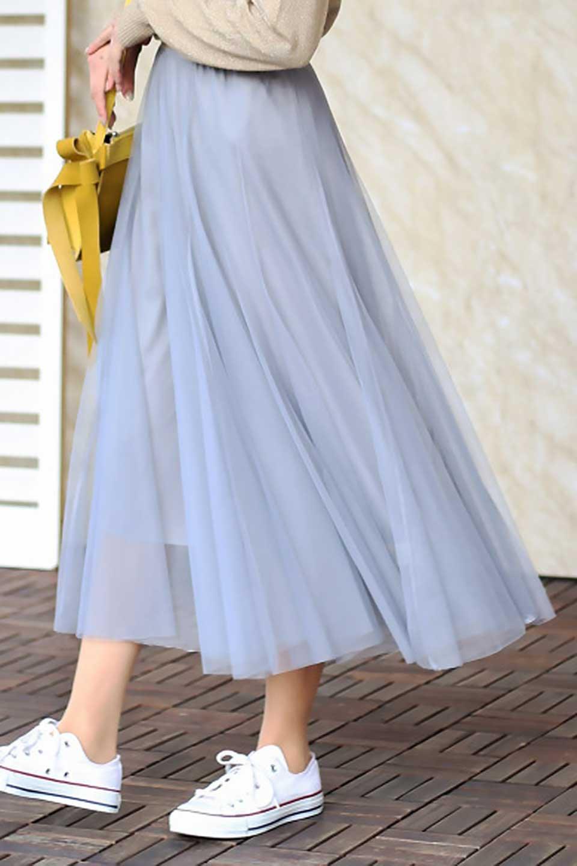 TulleMidiSkirtチュールレース・ミディスカート大人カジュアルに最適な海外ファッションのothers(その他インポートアイテム)のボトムやスカート。フワッとしたシルエットが可愛いチュールスカート。チュールは2層になっているのでしっかりとAラインを作り出してくれます。/main-25