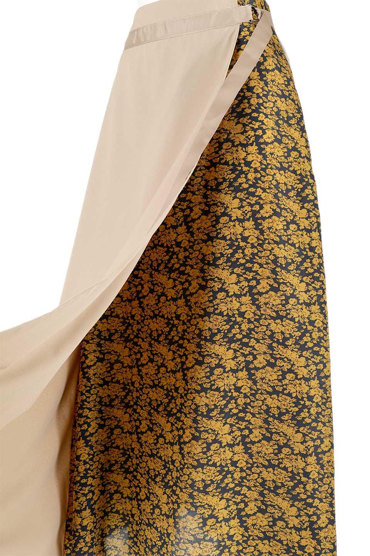 FloralPanelLongWrappedSkirt花柄切り替え・バイカラーラップスカート大人カジュアルに最適な海外ファッションのothers(その他インポートアイテム)のボトムやスカート。大胆な花柄の切り替えがアクセントのラップスカート。柔らかな素材でドレープ感が楽しめます。/main-13