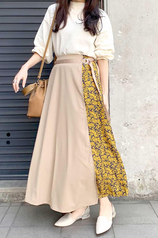 FloralPanelLongWrappedSkirt花柄切り替え・バイカラーラップスカート大人カジュアルに最適な海外ファッションのothers(その他インポートアイテム)のボトムやスカート。大胆な花柄の切り替えがアクセントのラップスカート。柔らかな素材でドレープ感が楽しめます。/main-16