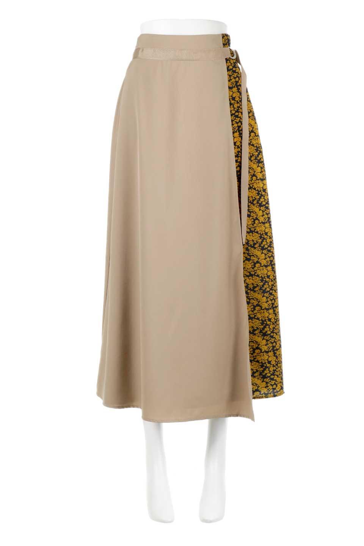 FloralPanelLongWrappedSkirt花柄切り替え・バイカラーラップスカート大人カジュアルに最適な海外ファッションのothers(その他インポートアイテム)のボトムやスカート。大胆な花柄の切り替えがアクセントのラップスカート。柔らかな素材でドレープ感が楽しめます。/main-5