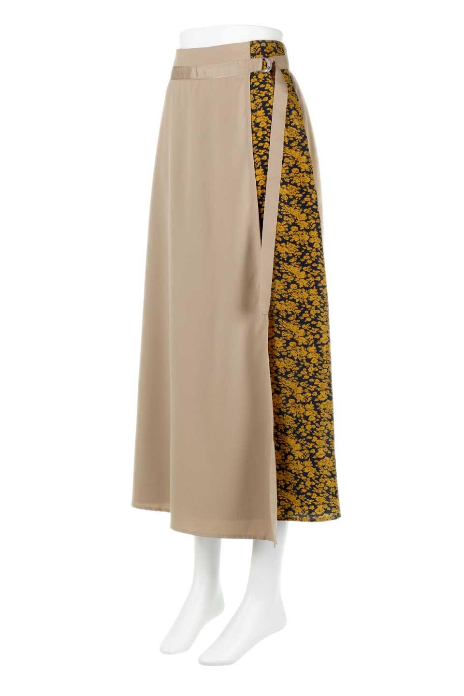 FloralPanelLongWrappedSkirt花柄切り替え・バイカラーラップスカート大人カジュアルに最適な海外ファッションのothers(その他インポートアイテム)のボトムやスカート。大胆な花柄の切り替えがアクセントのラップスカート。柔らかな素材でドレープ感が楽しめます。/main-6