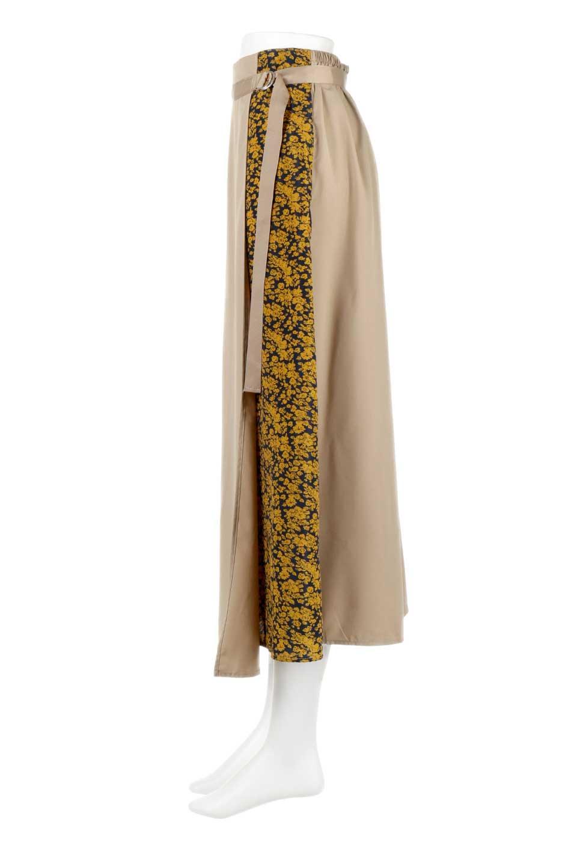 FloralPanelLongWrappedSkirt花柄切り替え・バイカラーラップスカート大人カジュアルに最適な海外ファッションのothers(その他インポートアイテム)のボトムやスカート。大胆な花柄の切り替えがアクセントのラップスカート。柔らかな素材でドレープ感が楽しめます。/main-7