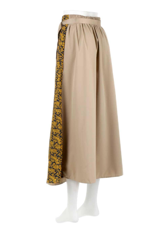FloralPanelLongWrappedSkirt花柄切り替え・バイカラーラップスカート大人カジュアルに最適な海外ファッションのothers(その他インポートアイテム)のボトムやスカート。大胆な花柄の切り替えがアクセントのラップスカート。柔らかな素材でドレープ感が楽しめます。/main-8