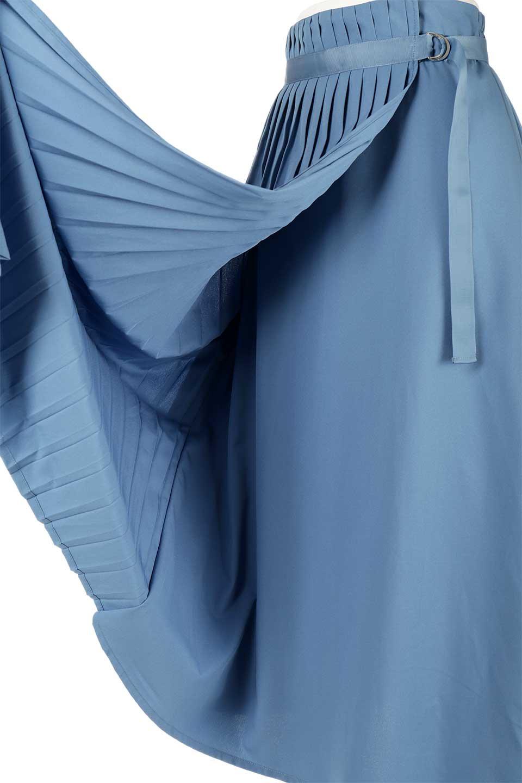 PleatedWrapSkirtプリーツ入り・ラップスカート大人カジュアルに最適な海外ファッションのothers(その他インポートアイテム)のボトムやスカート。柔らかく軽やかなポリエステル素材を使用したラッププリーツスカート。きれいなラインをキープしてくれる、程よいハリ感もおすすめポイントです。/main-18