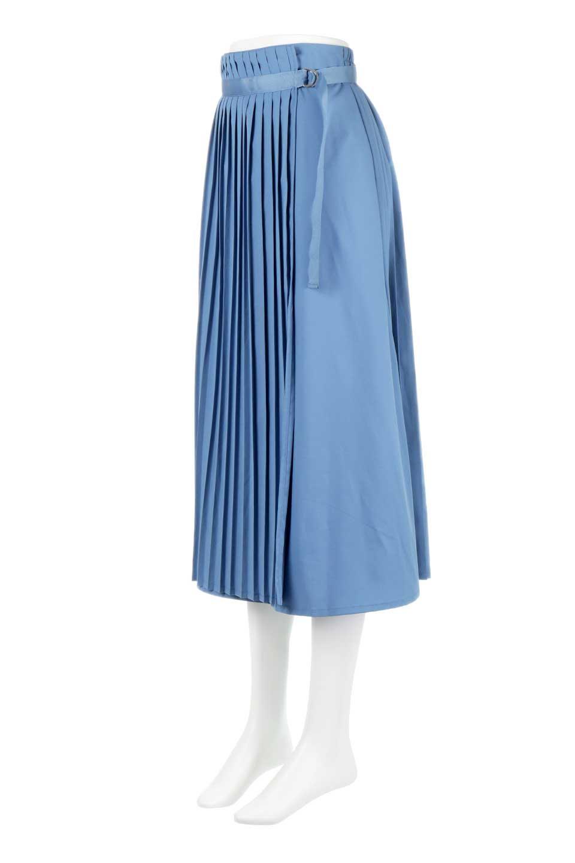 PleatedWrapSkirtプリーツ入り・ラップスカート大人カジュアルに最適な海外ファッションのothers(その他インポートアイテム)のボトムやスカート。柔らかく軽やかなポリエステル素材を使用したラッププリーツスカート。きれいなラインをキープしてくれる、程よいハリ感もおすすめポイントです。/main-6